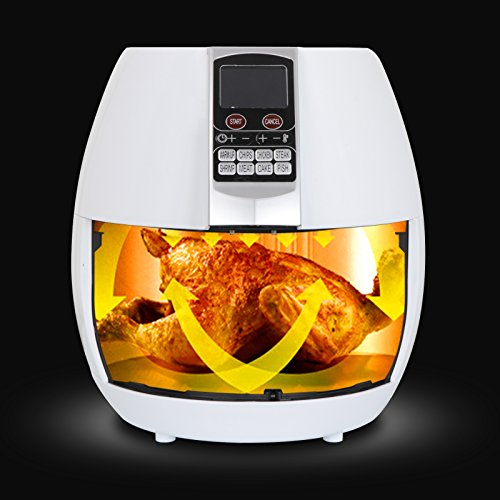 SUPER DEAL Pro 3.7Quart Electric Air Fryer w/ 8 Cooking Presets, Temperature Control, Auto Shut off & Timer, LCD Digital Display Screen (White)