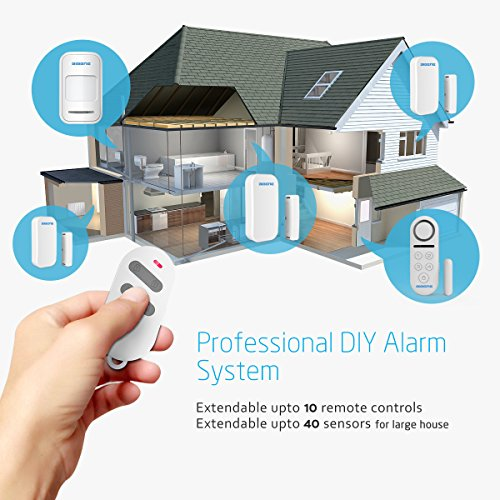 BIBENE Door Alarm System Home Security DIY Kit, 4 Zones, Loud 130dB, 2-in-1 Host, One Button Remote, Expandable 40 Door Window Motion Sensors, Password Required Burglar Alert Security System D3-1