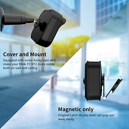 Blink XT Camera Wall Mount Bracket,Coolwufan Weather Proof 360 Degree Protective Adjustable Housing Metal Mount and Cover for Blink XT and XT2 Indoor Outdoor Home Security Camera System (Black(3 Pack)