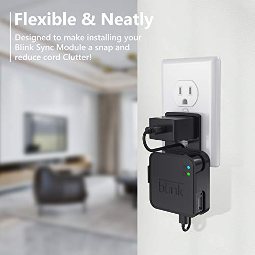 Coolwufan Outlet Wall Mount for Blink Sync Module, Simper Hanger Bracket Holder for Blink XT Outdoor and Indoor Security Camera Black or White WiFi Hub, No Messy Wires or Screws(Black)