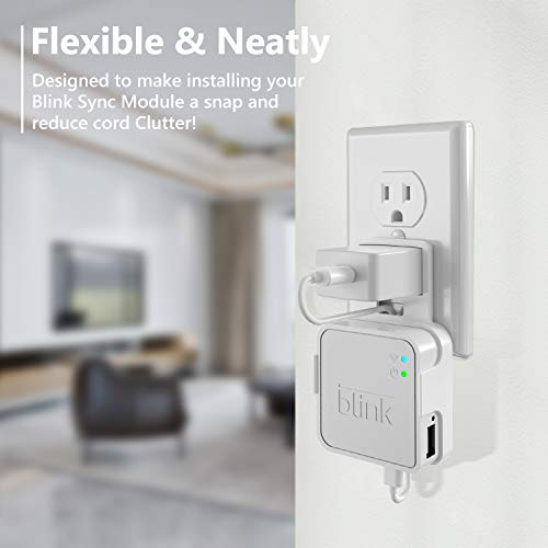 Coolwufan Outlet Wall Mount for Blink Sync Module, Simper Hanger Bracket Holder for Blink XT XT2 Outdoor and Indoor Security Camera Black or White WiFi Hub, No Messy Wires or Screws(White)