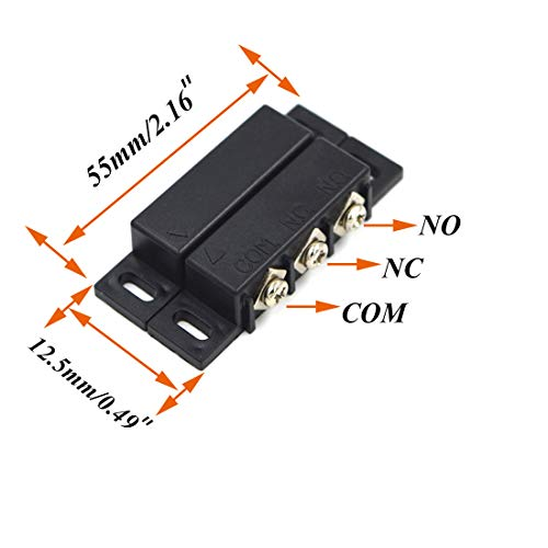 SpzcdZa 3Sets Magnetic Reed Switch Normally Open Closed NC NO Door Alarm Window Security/Magnetic Door Switch/Magnetic Contact Switch/Reed Switch for GPS,Alarm or Other Device,DC 5V 12V 24V Light