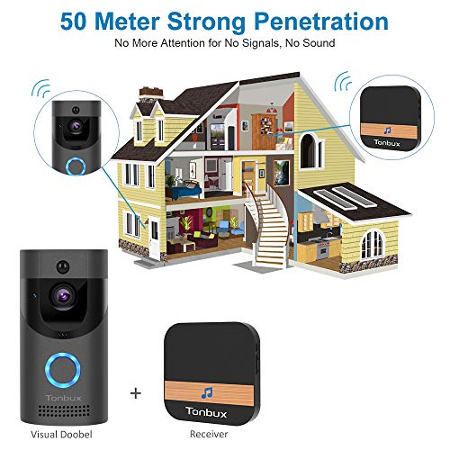 TONBUX Smart Video Doorbell Wireless Home WiFi Security Camera with Indoor Chime, 16GB Storage Card, 2-Way Talk, Night Vision, PIR Motion Detection, APP Control for iOS Android Google