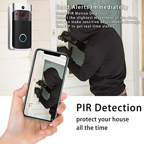 Video Doorbell Camera Wi-Fi with Motion Detector, Doorbell Security Camera with Two-Way Talk, IP55 Waterproof, Wide Angle, Night Vision, Push Notification, Free Cloud Storage and 32GB SD Card