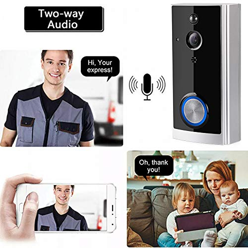 WiFi Video Doorbell with Camera Wireless Smart Doorbell Home Security Two Way Audio Night Vision PIR Motion Detection with Indoor Chime Battery