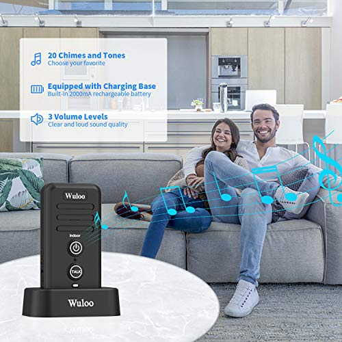Wireless Intercom Doorbells for Home Classroom, Wuloo Intercomunicador Waterproof Electronic Doorbell Chime with 1/2 Mile Range 3 Volume Levels Rechargeable Battery Including Mute Mode
