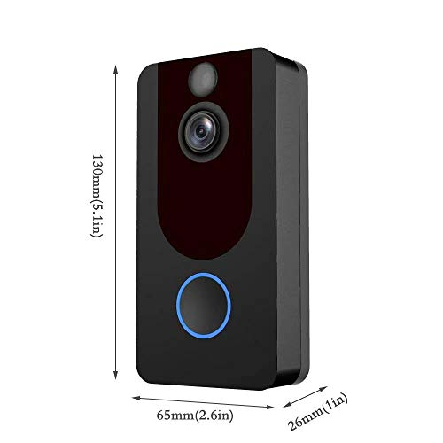 Wireless Video Doorbell, Smart WiFi Doorbell 1080P HD Security Camera with Real-Time Video Two Way Talk Cloud Storage PIR Motion Detection Night Vision, APP Control for iOS Android