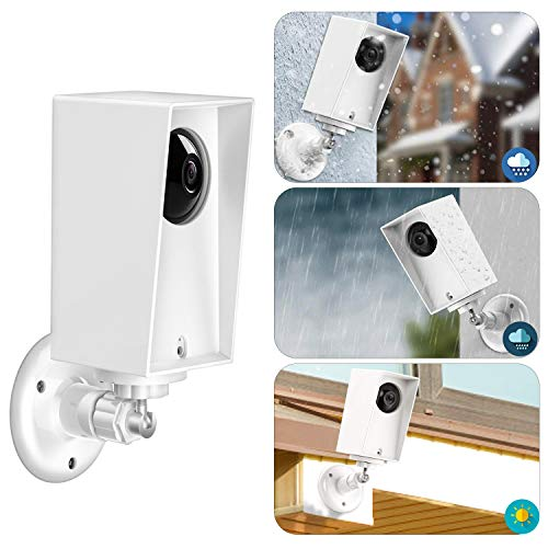 Wyze Cam Pan Silicone Protective Case with Wall Mount Bracket,Weather Proof Anti-Sun Glare and UV Protection Outdoor/Indoor Adjustable Bracket for Wyze Cam Pan 1080p Security Camera (2 Pack, White)