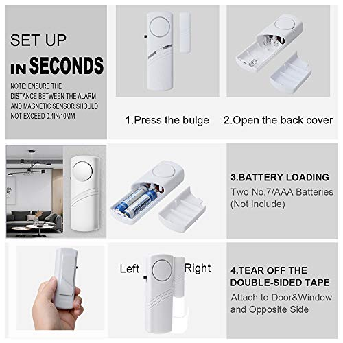 2PCS Window Door Alarm, Professional Wireless Home Security System, 90dB Loud Magnetic Entry Motion Sensor Alarm for Anti-Theft, Kids Safety, Garage, Apartment, Dorm, RV and Office
