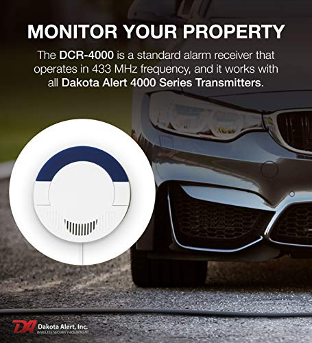 Dakota Alert DCR-4000 Wireless Driveway Alarm System Receiver for BBT-4000, DCHT-4000, DCMT-4000, DCPT-4000, and UT-4000 Transmitters - Up to 1 Mile Operating Range