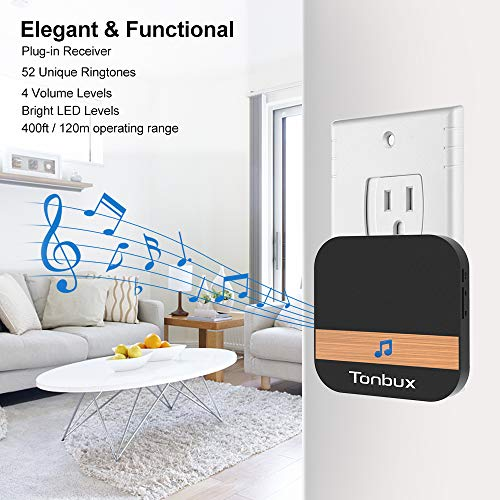 Door Chime, TONBUX 433MHz Wireless