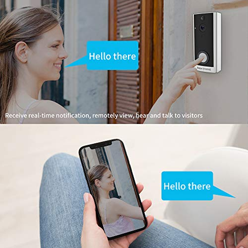 Doorbell Camera, NexTrend HD Smart Doorbell Battery Operated Wireless WiFi Doorbell Cam with Two Way Audio Night Vision PIR Motion Detection Support TF Card Remote View on Free APP -Silver
