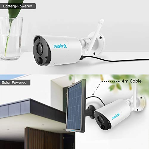 REOLINK Argus Eco+Solar Panel Outdoor Solar Battery Powered Security Camera System, 1080p HD Wirefree Waterproof 2-Way Audio Night Vision with PIR Motion Sensor, SD Socket and Cloud Service