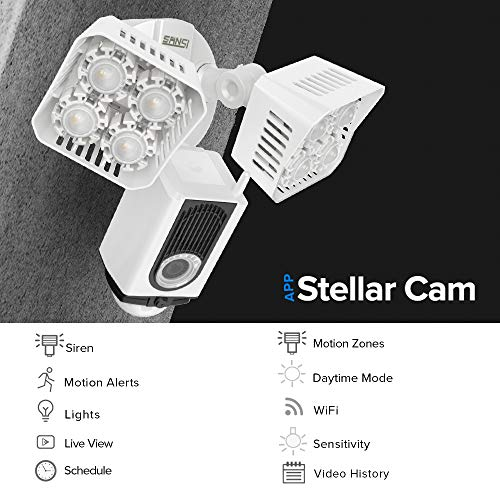 SANSI Stellar Floodlight Camera, Motion-Activated HD Security Cam, Two-Way Audio Talk and Siren Alarm, WiFi, Outdoor Smart Home Security Light, Motion Sensor LED Flood Light