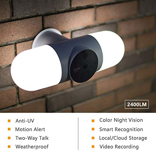 Smart Floodlight Camera, Litmor Motion-Activated Lights with 2K HD Camera & 180° View, Two-Way Audio Talk and Siren Alarm, Color Night Vision, WiFi, Motion Sensor Home Security Light, Weatherproof