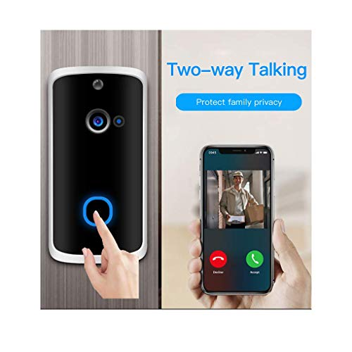 Video Doorbell with Wireless Chime,16GB SD Included(Video Recording),Doorbell Camera Wi-Fi with Motion Detector,PIR Detection,Night Vision,166° Wide Angle,Battery Operated,App for iOS/Android