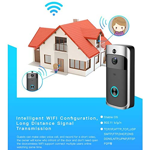 WIFI Video Doorbell,Smart Wireless 720p HD WIFI Security Camera,Wide Angle PIR Motion Detection Night Vision Doorbell,Real Time Two-way Audio D-003 (black doorbell with 8G card and 2 battery)