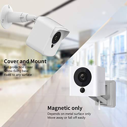 Wyze Cam Camera Wall Mount Bracket, Weather Proof 360° Protective Plastic Housing Cover Case and Adjustable Metal Mount for Wyze Cam V2 V1 and Ismart Spot Camera Indoor Outdoor (White(3 Pack))