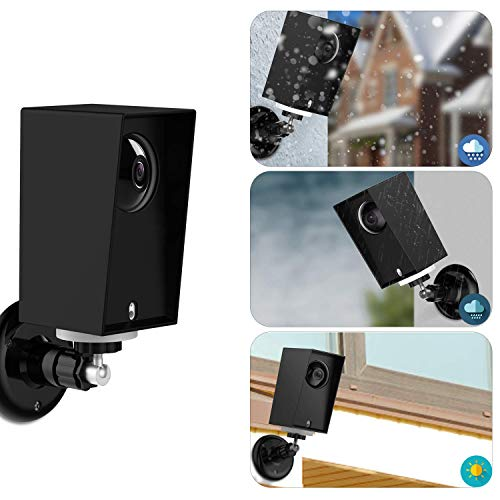 Wyze Cam Pan Silicone Protective Case with Wall Mount Bracket,Weather Proof Anti-Sun Glare and UV Protection Outdoor/Indoor Adjustable Bracket for Wyze Cam Pan 1080p Security Camera (1 Pack, Black)