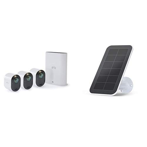 Arlo Ultra - 4K UHD Wire-Free Security 3 Camera System | Indoor/Outdoor Security Cameras with Color Night Vision, 180° View, 2-way Audio, Spotlight, Siren | Works with Alexa | w/ Solar Panel