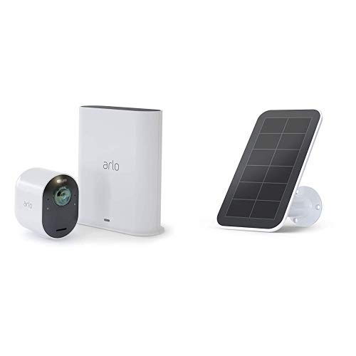 Arlo Ultra - 4K UHD Wire-Free Security 1 Camera System | Indoor/Outdoor Security Cameras with Color Night Vision, 180° View, 2-Way Audio, Spotlight, Siren | Works with Alexa | w/ Ultra Solar Panel