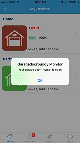 GarageDoorBuddy Monitor - Monitor Your Garage Doors from Anywhere (Remote device sold separately)