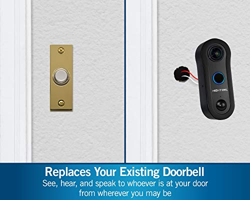 Night Owl 1080p HD Smart Video Doorbell with 2-Way Audio, Night Vision, Real-Time Alerts, Free Remote Viewing App, Dual Sensor Technology, Wide Viewing Angle and Customizable Storage Options