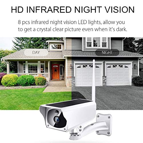 Solar Security Camera Home Surveillance 1080p HD 2-Way Audio Night Vision with PIR Motion Sensor Includes SD Card and Free Cloud Service