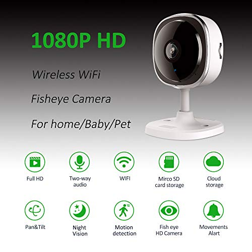 Wheezan Home Security Camera,1080P Wireless WiFi Fisheye Camera,Baby Monitor Indoor Camera with Two-Way Audio,Night Vision,Motion Detection Alarm and Cloud Storage for Home/Office/Baby/Nanny/Pet