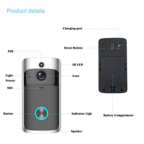WiFi Smart Video Doorbell, SURUN Smart Home Wireless Doorbell 720P HD Security Camera with 166 Degree Wide-Angle Lens, PIR Motion Detection, Real-Time Two-Way Call and Video, Application Remote Contro