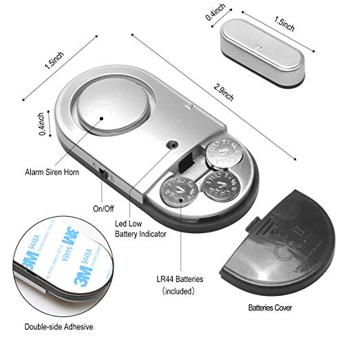 Window Door Alarm, Toeeson 120db Pool Alarm for Door, Door Security Alarm for Home and Hotel (2 Packs)