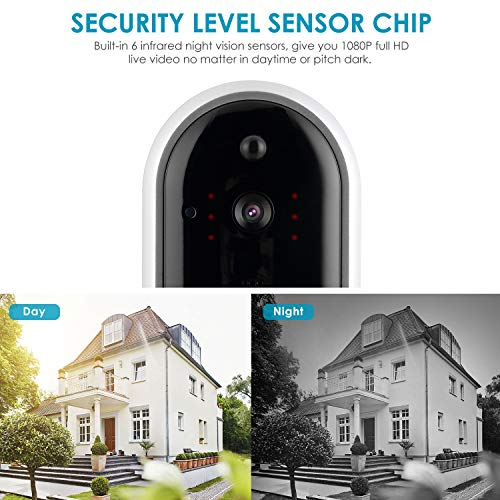 Wireless Video Doorbell Camera, Mbuynow WiFi 1080P Doorbell Home Security Camera with Indoor Chime, Cloud Service, 2 Batteries, Night Vision, 2-Way Talk, Motion Detection for iOS Android Phone