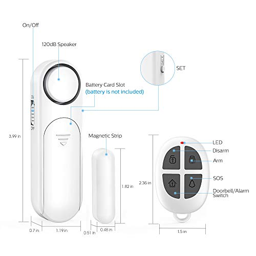 Door Window Alarm, Remote Control 300ft, 120dB Wireless Magnetic Contact Sensor Anti-Theft Door Alarms for Kids Safety, Home, Business Security (2 Alarm Sensors & 1 Remote Control)