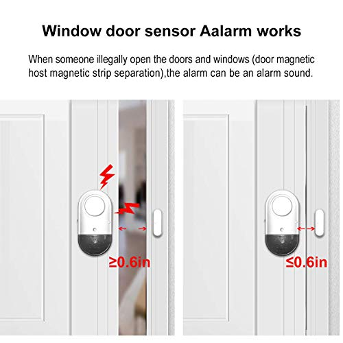 Door Window Alarm, Toeeson 120DB Wireless Magnetically Triggered Home Security Sensor Burglar Alarm, Loud Pool Door Alarm for Kids