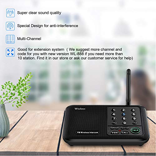 Wuloo Intercoms Wireless for Home 1 Mile (5280 Feet) Range 10 - Channel, Wireless Intercom System for Home House Business Office, Room to Room Intercom, Home Communication System (2 Packs, Black)