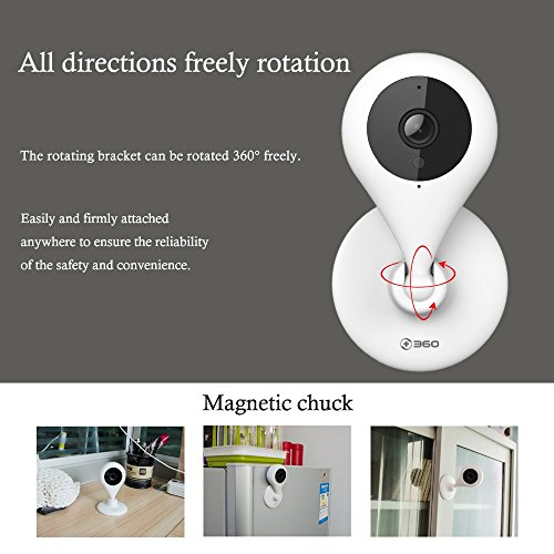 360 Smart Camera 720p Plus Wireless Mini Security CCTV Home IP Network WIFI Surveillance Indoor Camera with Ultra HD Lens Night Vision, 2-Way Audio, Remote Access, D603, White