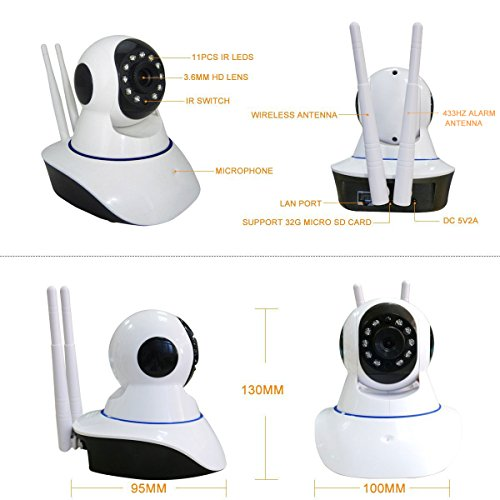 720P Smart Wireless IP Camera W/ Door/Window Sensor System Night Vision 2 Way Audio Motion Detection Email Alert Record to SD Card Remote View Via Smartphone/Tablet/PC