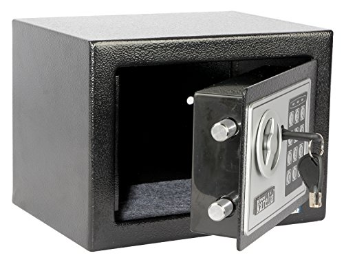 Finnkarelia Digital Security Box, Safe Box, Security Safe for Jewelry, Gun, Cash, Passport and more, Compact Size 9.1x6.7x6.7 inches, Black