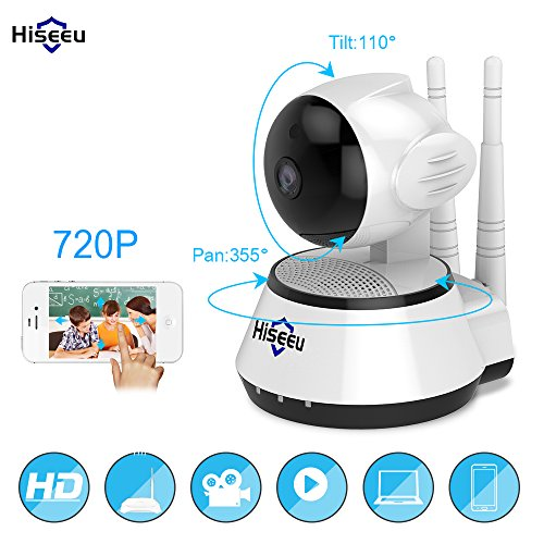Hiseeu Wireless Network IP Camera Wifi Smart Security Defender for Family Indoor 720P HD CCTV Night Vision Two-Way Audio Support Android IOS PC
