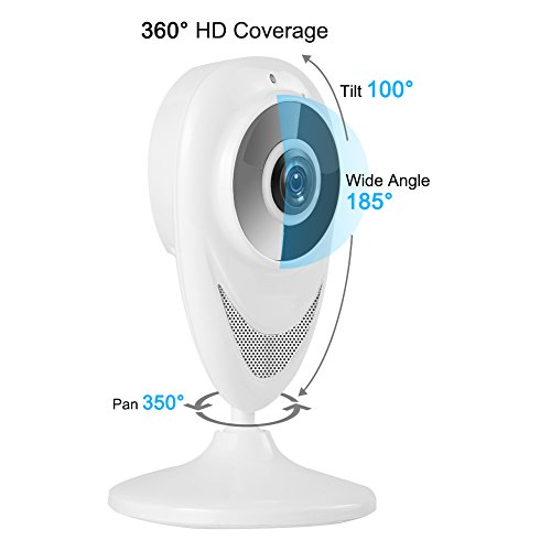 IP Camera - 720P HD Wireless WiFi Privacy Security Panoramic Camera with Two-way Audio, Red Light Night Vision Surveillance Camera, Smart Wide Angle 350 Degree Rotation P2P Motion Detection Camera