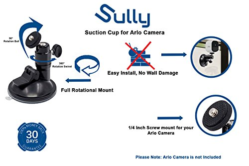 (2pcs) Suction Mount for Arlo HD Pro GO Zmodo Indoor Outdoor Wireless Smart Security Cameras Add on with 1/4 Inch Screw 360 Degree Rotation Fully Adjustable Mount By Sully