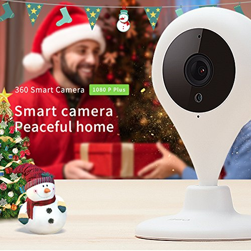 360 Home Security Camera IP Wireless Camera Surveillance System with Motion Detection Night Vision Smart Camera 1080P 150° Wide Angle View - 1080P White (US Edition)