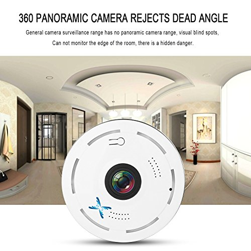 SamHity IP Camera Wireless Wifi 360 Degree Panoramic 2.0 Megapixel 1080P 2.4GHZ Security Camera Super Wide Angle Support IR Night Motion Detection Keep Your Pet & Home Safe (mini)