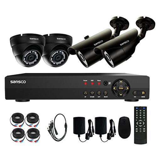 SANSCO CCTV Security Camera System with 8-Channel 1080N DVR, 2 Dome Cameras and 2 Bullet Cameras (All HD 720p 1MP) Smart Video Surveillance System, No HDD Included