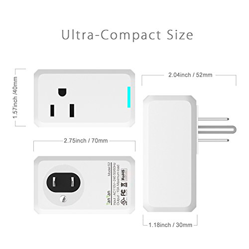 Smart Outlet TanTan Wi-Fi Enabled Mini Smart plug, Works with Amazon Alexa and Google Home, No Hub Required, Occupies Only One Socket, Remote Control Your Devices,UL Certified Timing Function Switch