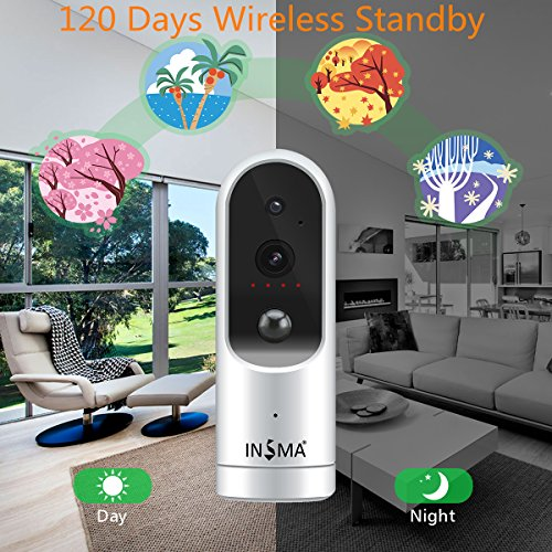 Wireless Security Camera, INSMA 960P WiFi Camera 120 Days Standby with Rechargeable Battery, PIR Motion Detection, HD Night Vision Two Way Audio