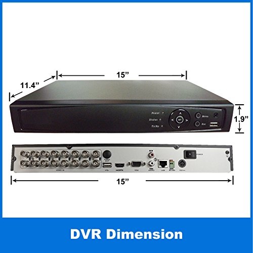 1stPV 16CH HD-TVI/Analog/IP 3 in 1 True-HD 1080p H.264 DVR w/ 2TB HDD Internet Mobile Phone HDMI Real Time Smart Recording Playback Great for Home Office CCTV System (work w/ HD-TVI, Analog & IP Cam)