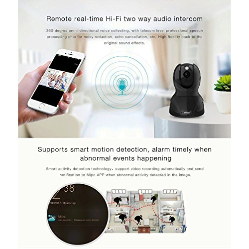 Home Security Camera, ieGeek WIFI IP Camera Wireless Surveillance System with Pan Tilt 8x Zoom, Smart Motion Notification, Hi-fi Two-way Audio, Night Vision, User-friendly Phone APP and PC Software