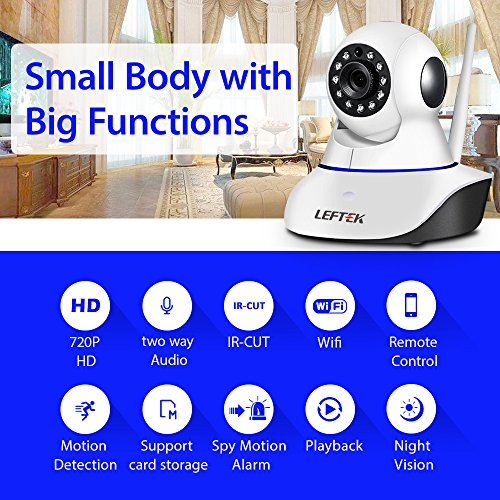 LEFTEK Security Camera Smart Home Guard 720P WIFI Home Security CCTV Surveillance Camera P2P Infrared Night Vision Two Way Audio Motion Detection And more