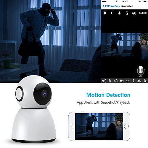 Wireless Security Camera, Sywan 1080P HD WiFi Camera Support Cloud Storage Baby Monitor Home Surveillance Camera with Motion Sounds Detection Two-Way Audio Night Vision,White